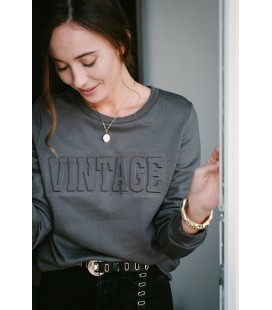 Sweat VINTAGE en relief  - Gris