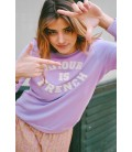 Sweat AMOUR IS FRENCH - LILAS/BLANC
