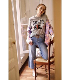 "T-Shirt ""SUPER GIRL"" - Gris"